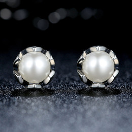 Wholesale Pandora Pearls - Vintage 100% 925 Sterling Silver Cultured Elegance Stud Earrings with White Freshwater Cultured Pearl Elegant Pandora Style Earrings ER022