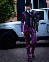 Wholesale Mens Shiny Gray Pants - Shiny Purple Handsome Wedding Groom Tuxedos One Buttons Shawl Collar Best Man Blazer Lovely Mens Wedding Suits (Jacket+Pants)