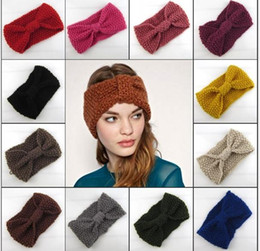 Wholesale 2015 new Hair accessories Winter Crochet Flower Bow Knitted Head wrap fashion womens Knit Turban Headband Ear Warmer twist wide headbands