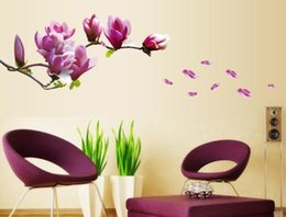Wholesale Luxury Flower Wall Decals - High Quality 2015 New Luxury 3D peach Flower 150*55cm Bed Room Wall Vinyl Decal Art DIY Home Decor Wall Stickers flower