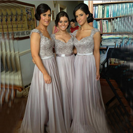 Wholesale Discount Chiffon Dresses - Silver chiffon lace Custom made 2015 New Big Discount cap sleeves long Bridesmaid Dresses formal dresses with ribbon sash wedding party gown