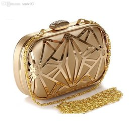 Wholesale Money Dating - Wholesale-Vintage Hollow Out Metal Evening Bags Diamonds Gold Black Ladies Evening Bag Small Purse Bag Pocket Money Bag For Wedding dating