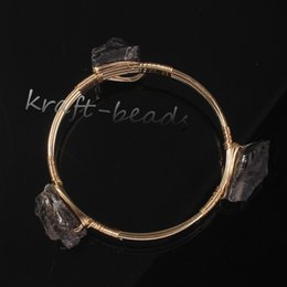 Wholesale Stone Tea Sets - Wholesale 5Pcs Charm 18 k gold plated Natural Tea-coloured crystal Stone Random Form Beads Bracelets Jewelry