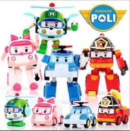 bus jouet vert Promotion Voiture de déformation Poli jouets à bulles Robocar 4 modèles Corée du Sud mélanger robocar poli