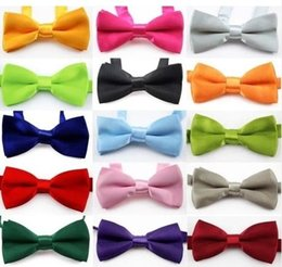 Wholesale Girls Bow Tie Fashion - boys bow ties Fashion girls neck ties baby boy bow tie Pure Color Butterfly Children England Tie Kids Party Accessories 13 style A2763