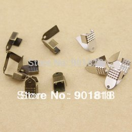 Wholesale Crimp Clasps - Wholesale-6*11mm 200pcs lot silver gold black Crimps End fastener clasp Jewelry Clasp F585C