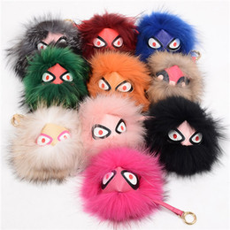 Wholesale Plush Raccoon Toy - grimace monster pendant Fox fur and raccoon fur ball toy Bags jewelry pendant Lovely Plush Keychain