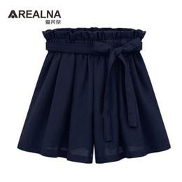 Wholesale Lightweight Skirts - Wholesale- 2017 Summer High Waist Black White Women's Skirt Shorts Fashion Bow Belt Chiffon Female Wide Leg Short HotPants Plus Size 5XL