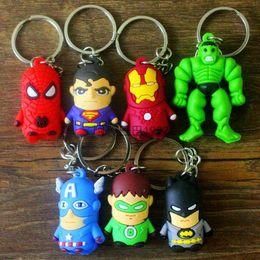 Wholesale Batman Superman Toy - 2016 Children New Superman Batman Spider-Man Iron Man Avengers Superhero Captain America cartoon anime boy Keychain sided soft toys for kids