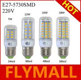 Wholesale E27 36led - E27 SMD5730 LED Corn Lamps 24Led 36Led 48Led 56Led LED Bulb Light 7w 12w 15w 18w Wall Downlight Pendant High Bright 110V 220V