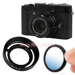 Wholesale Fuji Filter - 2pcs 1set New slim 40mm MC- UV filter + metal Lens hood for fuji fujifilm LH-X10 X10