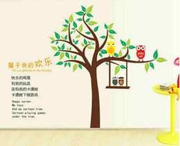 Wholesale Wall Vinyl Owl Tree - Owl Flower Tree Removable Vinyl Decal Wall Sticker Mural Kid Room Nursery Decor fast shipping for the beautiful house Accessories