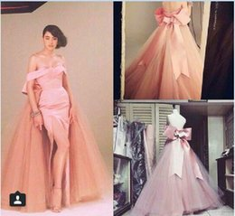 Wholesale Jacket Gown Slit - Real Image Pink Prom Dresses 2015 Fashion Off Shoulder Bow Backless Floor Length Arabic Evening Gowns Sexy Side Slit Custom Made Party Dress