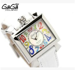 Wholesale Watch Gaga - luxury gaga watch large dial 3D colorful number six hands chronograph complete calendar quartz watch for men black rubber strap Italy flag