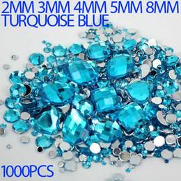 Wholesale Hotfix Strass - Wholesale-Mix Sizes turquoise blue Round strass Acrylic Loose Non-Hotfix Flatback Rhinestone Nail Art loose Stones For Wedding Decorations