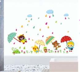 Wholesale Umbrella Packaging - Removable PVC Wall Stickers Decal Decor--- New Design Animal Friends Bears Girl Open Umbrellas On Grass in Rainy Day Home Decor Wallpaper