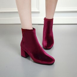 Wholesale High Heels Pole - British style autumn luxury velvet thin high-heeled Martin boots pointed toe short ankle boots nightclub Pole dancing party shoes for women