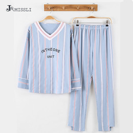 Wholesale Womens Cotton Pajamas Sets - JRMISSLI Autumn Winter Cotton Womens Striped Pajama Sets V-Neck Long Sleeve Women Sleepwear Pajamas Girls Woman Pyjama ZC108