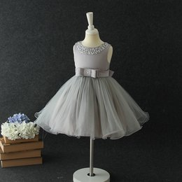 Wholesale Ball Gown Pink Diamonds - Kids princess dresses Girls sequins diamonds bows sashes TUTU dress Children sleeveless pleated gauze dress Kids party dress C2278