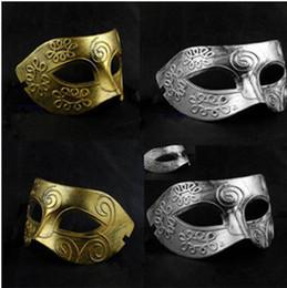 Wholesale Vintage Adult Films - Halloween PVC Retro Masks Half Face Ancient Greece Archaistic Roma Antique Classic Men's Mask Masquerade Masks Vintage Costume Party Masks