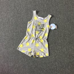 Wholesale Stars Suspender - Baby Clothes Girl's Jumpsuit Suspender Trousers Pant Yellow Star Pattern Kids Summer Outfit Gray Color 8 p l