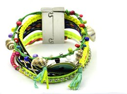 Мексиканские браслеты онлайн-Новая Мода Женщины Чешские Глаза Мексиканские Бисером Браслеты Плетеный Многослойный Пляж Шарм Горный Хрусталь Цепи Браслеты