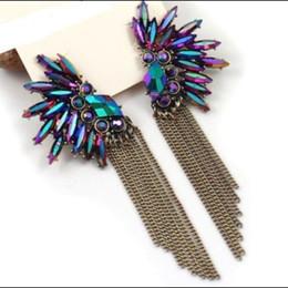 Wholesale Purple Wings Earrings - Korea Angel Wing   Feather Purple Crystal Earrings Fashion 2015 For Women Girls. Christmas gift