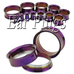 Wholesale mixed screw ear plugs - Wholesale stainless steel anodize purple screw fit double flared flesh tunnel saddle ear gauges mix 8 sizes 48pcs SDF0082