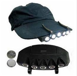 Wholesale Camping Clip Hat - 5 Leds Cap Hat Light Clip-On 5 LED Fishing Camping Head Light HeadLamp Cap