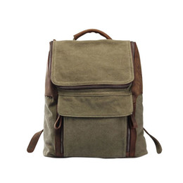 Wholesale Backpacks Army - men's army green canvas backpacks with flap pocket large capacity rucksack for travel climb hiking