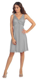 Wholesale Grey Knee Length Bridesmaid Dresses - Vintage Maternity Bridesmaid Dresses Grey Chiffon Empire V-neck Wedding Guests Gowns Knee Length Vestido Curto Festa Cheap Dress For Girls