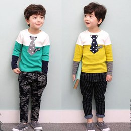 Wholesale Childrens Sweater Jackets - Childrens Clothing Sets Spring and Autumn Long-sleeved Sweater Suit Boys Clothes Spell Color Kids Minnie Rodini Christmas Baby Boy Clothes
