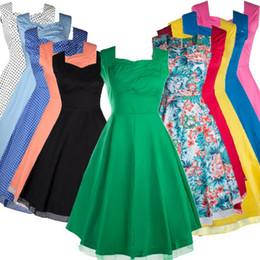Vestidos de coctel coloridos más tamaño online-Vestido de trabajo Mujer 50s 60s Vintage A línea hasta la rodilla Cóctel vestidos de poliéster de colores S-3XL Plus Size Envío gratis