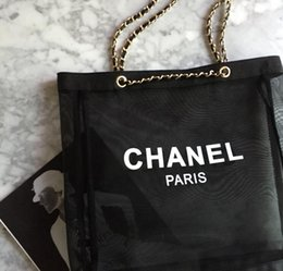 Wholesale Transparent Shopping Bags - Europe and the United States brand foreign trade big counter transparent net yarn ladies shopping bag chain portable women wallet