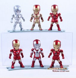 Wholesale Super Heros Action Figures Set - 6pcs set Avengers Iron Man 3 MK 42 Egg Attack Iron Man Marvel Super Heros LED Flash PVC Action Figure Collection Model Toy