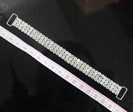 10pcs 3ROWS pieno di cristallo strass Bikini Connettori fibbia in metallo argento catena per abbigliamento da nuoto Bikini decorazione da