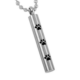 Wholesale Cremation Cylinder Pendant - Lily Cremation Jewelry Cylinder Love Pet Paw Print Ash Keepsake Waterproof Urn Pendant With Bag and Chain