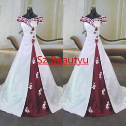 Wholesale Classic Women Dresses For Wedding - Modest Off Shoulder 3D-Floral Appliques Evening Dresses With Sleeves A Line Court Train Satin Long Bridal Wedding Dress Gown For Women