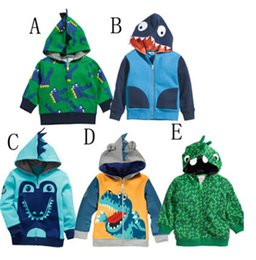 Wholesale Dinosaur Hoodie Coat Boys - Cartoo Dinosaur Children Hoodies Jacket Korean looped pile cotton zipper baby boys girls hoody coat kids clothing outwear