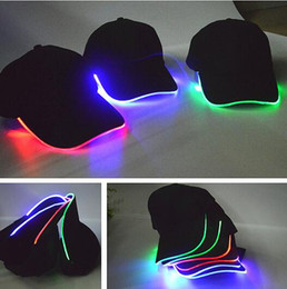 Wholesale Cap Led Glow Lights - New Arrive LED Light Hat Glow Hat Black Fabric For Adult Baseball Caps Luminous 7 Colors For Selection Adjustment Size Xmas Party