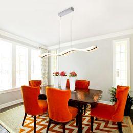 Wholesale Acrylic Room - Modern Wave Design White Acrylic LED Chandelier Lighting L95*H150cm Pendant Lamp 38W White Warm White Led Bulb Lamp Chandeliers