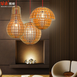 Wholesale Modern Minimalist Ball Chandeliers - Vintage Minimalist Style Ceiling Pendant Lamps Burlywood DIY Solid Wood Dining Room Lamp Ball E27 Gridding Chandelier home lights wholesale