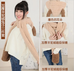 Wholesale Super Cute Bunny - Wholesale-Super cute bunny shape one hooded cashmere scarves gloves hat scarf