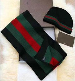 Wholesale Men Red Scarf - 2017 Winter Scarf and Hats set two suits For men and women luxury wool warm luxury designer kerchief scarves thicker scarf with boxes