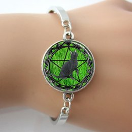 Wholesale Glass Background - Black Cat Bracelet,Wicca Pentagram Bangle,Green Grass Background Glass Tile Jewelry Cuff Bangle For Best Friends