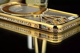 Wholesale Chrome Bling Iphone Cases - For iphone 6 Plus 5 5S Luxury Diamond Bling Rhinestone Bumper Aluminium Metal Hard Chrome Frame Case Cover For iphone 6 4.7 5.5 inch