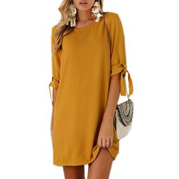 Wholesale Work Clothing For Women Wholesale - Wholesale- 2017 Autumn Summer Dress For Women Roupa Tunic Work Dresses Tie Bow Pencil Casual Wear Clothes Office Ladies Vestidos WS1357Z