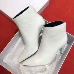 Stivali superiori online-Stivaletti Gli stivali delle stazioni di moda europee si vestono bene con le scarpe più vendute, le tomaie in pelle all'interno della pelle di pecora