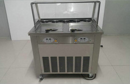 Wholesale Ice Stock - DHL ship 110V double square pan fried ice cream machine R410a 1600w double compressor ice cream roll machine with glass cover