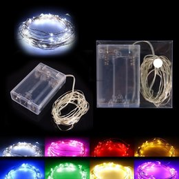 Wholesale Christmas Batteries - AA Battery Power Operated LED Copper Silver Wire Fairy Lights String 50Leds 5M Christmas Xmas Home Party Decoration Seed Lamp Outdoor